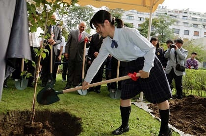 Rina Matsumoto, Student Sakura team leader from Fukushima, plants a cherry tree at the OECD headquarters on the occasion of the Tohoku Cherry Blossom Ceremony, 2 September 2014. ©OECD/Hervé Cortinat