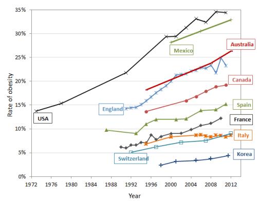 Evolución das taxas de obesidade.