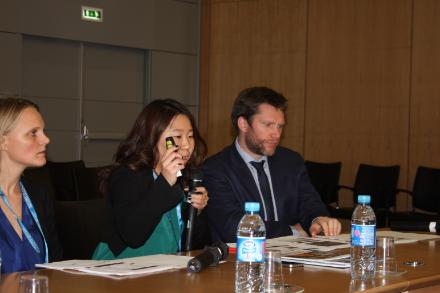 During Session III, Lisa Andersson, Hyeshin Park and Jason Gagnon (left to right) from the OECD Development Centre's Migration and Skills Unit presented the methodological framework for the project.