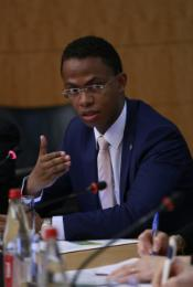 "Photo of Minister Ralava Beboarimisa, Madagascar, from the OECD breakfast event ""Green Finance for Climate Action"", 1 April 2015, in the context of the OECD Global Forum on Development 2015."