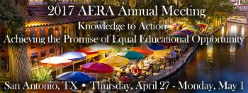 logo for the 2017 AERA annual meeting where Thomas J. Alexander fellows will be presenting