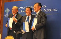 Angel Gurría, OECD Secretary-General, Jose Antonio Meade Kuribeña, Mexican Minister of Finance and Jim Yong Kim, President, World Bank - G20 Mexico City 4 November 2012