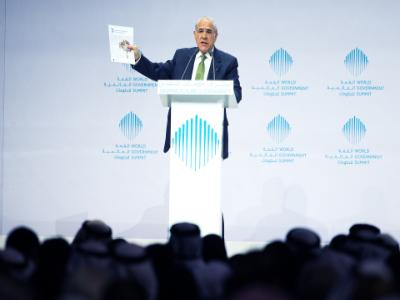 "OECD Secretary General, Angel Gurría, presenting the report ""Youth in the MENA region – How to bring them in"" in the World Government Summit on 8 February 2016 in Dubai."