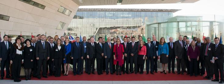Group photo of Ministers participating at the TDPC Ministerial which took place in Marseille on 5-6 December 2013.