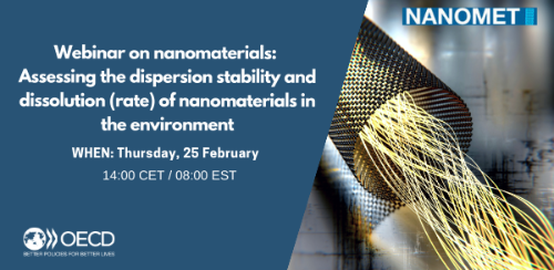Join us on Thursday 25 February to discuss the scope, content, and use of the Test Guideline No. 318: Dispersion Stability of Nanomaterials in Simulated Environmental Media and its accompanying Guidance Document.
