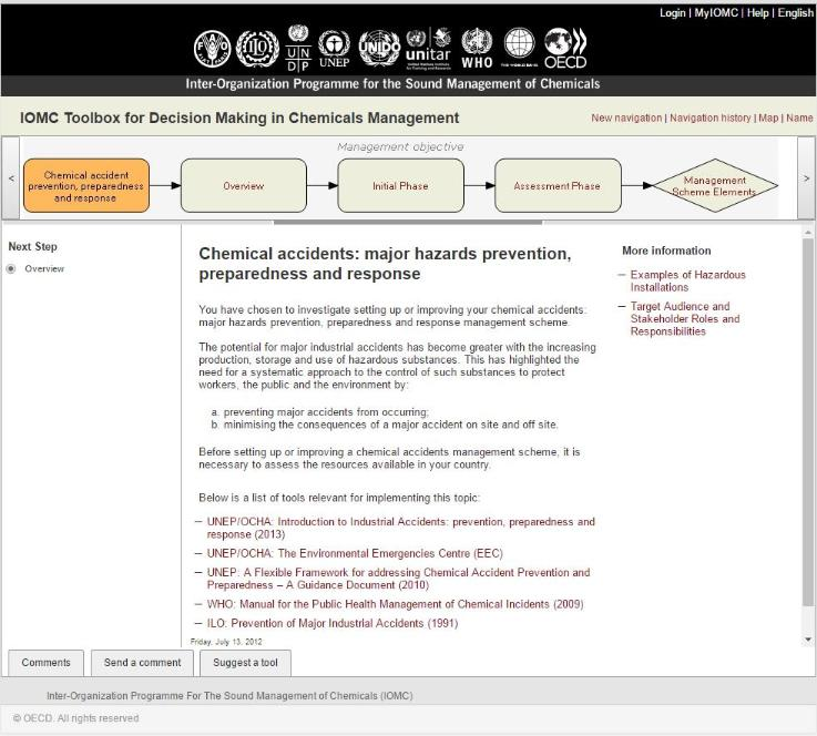 IOMC Toolbox for Decision Making in Chemicals Management screen shot