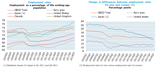 OECD employment rate increases to 68.4% in the third quarter of 2018