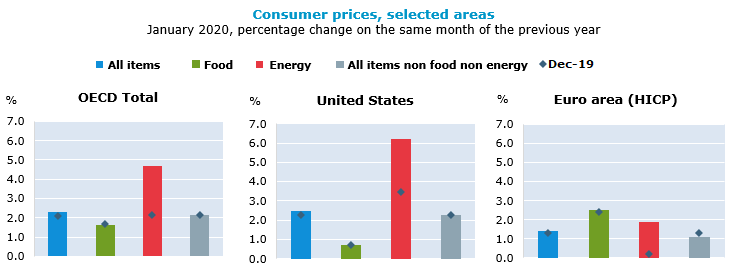 Higher energy prices push OECD annual inflation to 2.3% in January