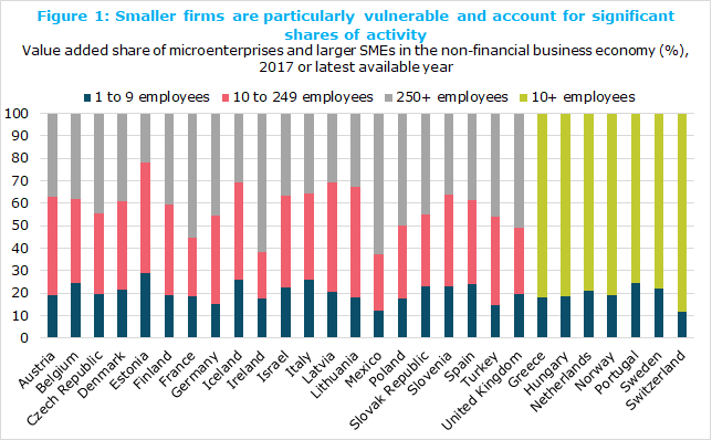 Smaller firms are particularly vulnerable and account for significant shares of activity, Value added share of microenterprises and larger SMEs in the non-financial business economy (%), 2017 or latest available year