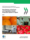 This image is the cover page of the OECD peer review of the fruit and vegetables quality inspection system of Spain. The copyright belongs to OECD. The image consists of four photos: two photos of inspections, one of citrus fruits and one of red peppers.