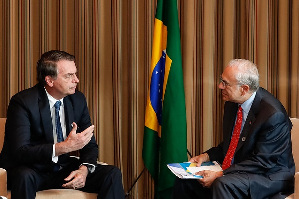 President of Brazil, Jair Bolsonaro during a meeting with Angel Gurria, Secretary General of the OECD in Osaka, Japan on 28 June 2019.