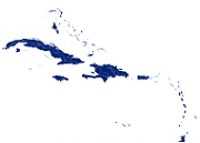 Map of the countries of the Caribbean in colour blue