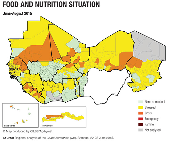 Map - food and nutrition situation June-August 2015
