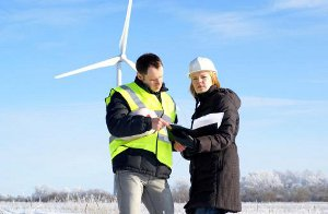 Green jobs engineers wind turbine